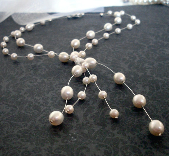 Pearl floating necklace, bridal. White freshwater pearl, floating double strand drop necklace. Sterling Silver. N176a-ss