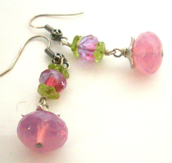 Glass bead earrings, pink purple green, antique silver wire wrapped. Opal glass bead jewelry, pink jewelry. E235v