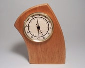 Curved Leaning Desk Clock Made of Mahogany Hardwood