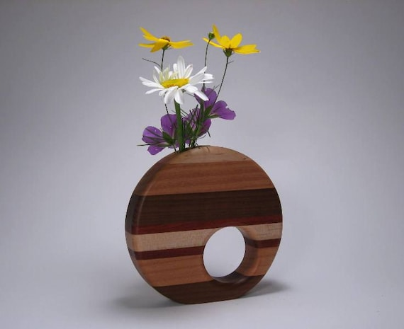 Wooden Striped Circle Shaped Flower Vase By Jillianjonesent