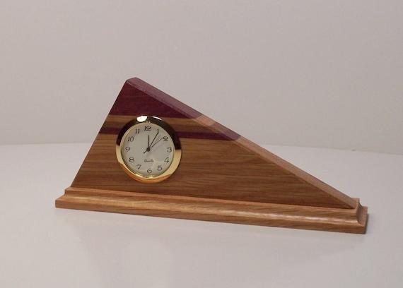 Mini Triangle-Shaped Oak Clock With Purpleheart and Walnut Stripes