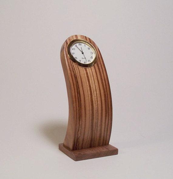 Zebra wood desk clock thin streamlined design by