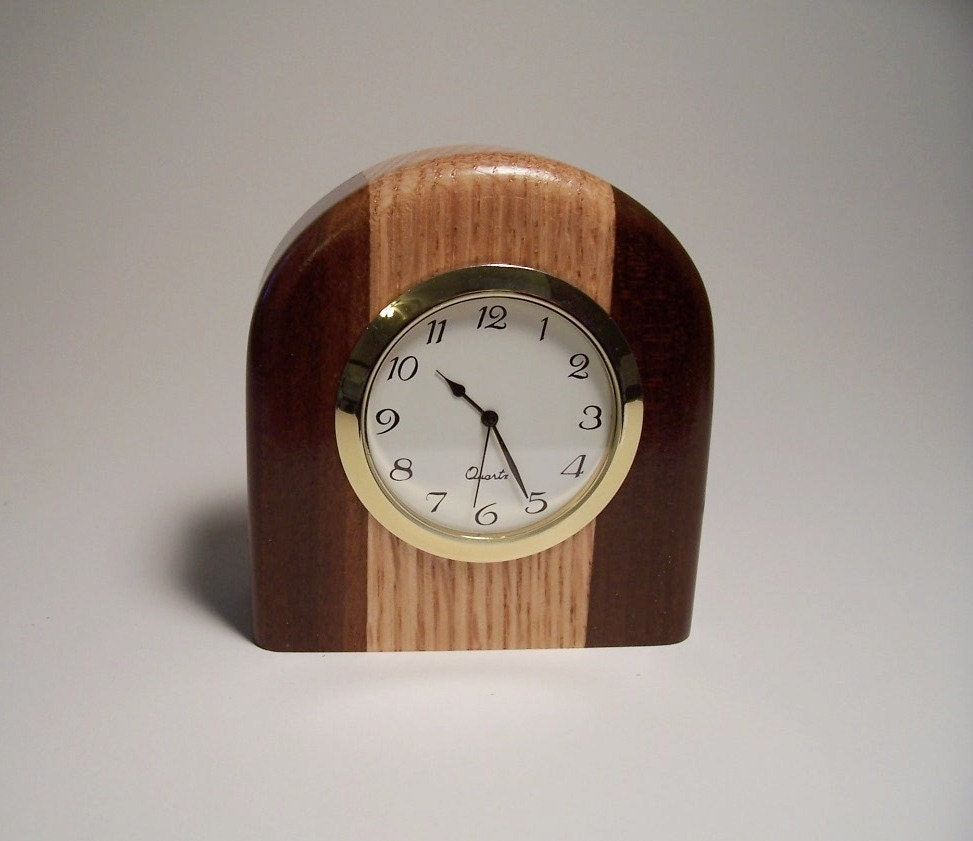 Small two tone wooden desk clock made of oak and burnt poplar