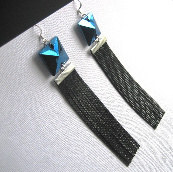 SALE / Cobalt blue crystal and Black leather statement earrings / L62