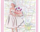 Kansas City Vintage Dress Happy Birthday Card