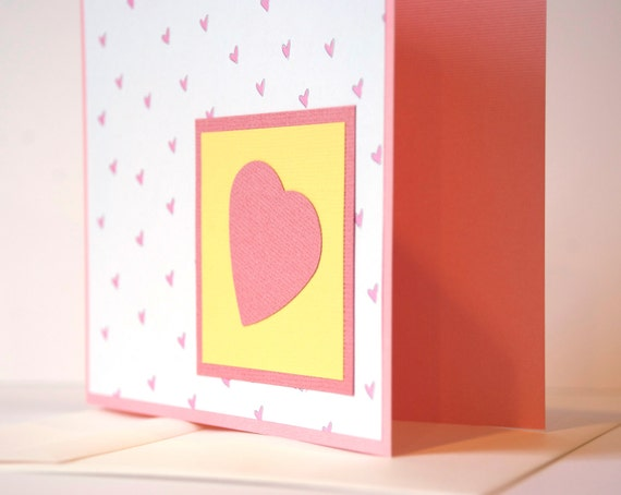 Valentines Card - I Love You Card - Valentines Day - Anniversary Card - Pink Heart