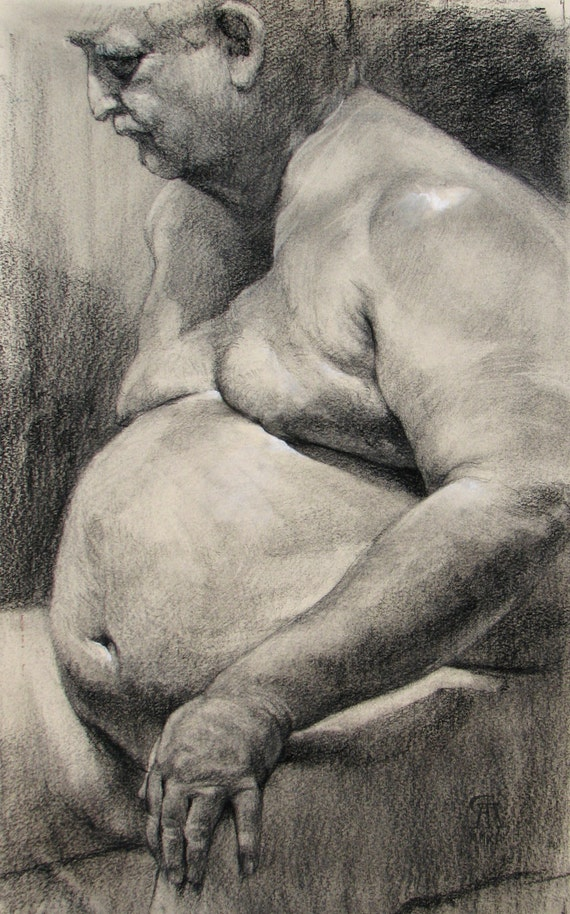 Reserved for seafareireland. Life Drawing - Original Drawing, Charcoal on Paper by Rory Alan MacLean