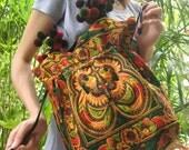 Hmong Old Vintage Style Ethnic Thai Boho Shoulder Medium Tote Bag