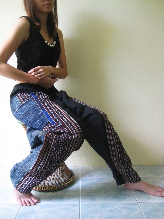 Vintage Northern Thai Amazing Embroidered Harem, Yoga, Fisherman pants. Shipped by DHL