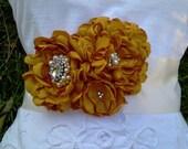 Elena- Wedding Sash Golden Saffron,Romantic Bouquet Sash.... Available in many colors....