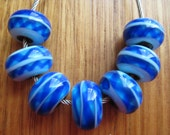 Glass Lampwork Beads,  Red, Blue and Twisted, Artisan Handmade