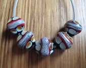 Glass Lampwork Beads, Red, Black, Amber and Silver Ivory Diamonds, Artisan Handmade