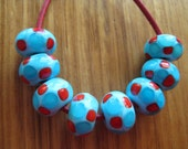 Glass Lampwork Beads, Mosaic Dot Design in Aqua, Turquoise and Red.