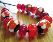 Glass Lampwork Bead Set, Mosaic Dots in Black, Burnt Orange and Ivory with Mixed Spacer Beads.