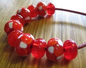 Glass Lampwork Bead Set, Mosaic Dots in Dark Red, Burnt Orange and Ivory, with Orange Spacer Beads.