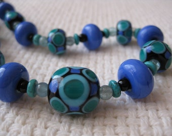 Blue, Green and Black Glass Bead Necklace. Aquamarine, Turquoise and Onyx. Lampwork Glass Beads. Australian Handmade Beads. Kiln Fired Beads