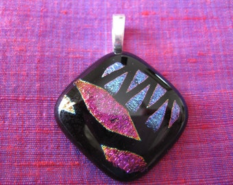 Purple and Black Glass Pendant. Fused Glass. Dichroic Glass. Handmade Fused Glass. Australian Fused Glass Jewellery. Kiln Fired Glass.