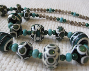 Green, Turquoise, Ivory and Grey Glass Bead Necklace. Malachite and Turquoise . Lampwork Glass Beads. Australian Beads. Kiln Fired Beads.