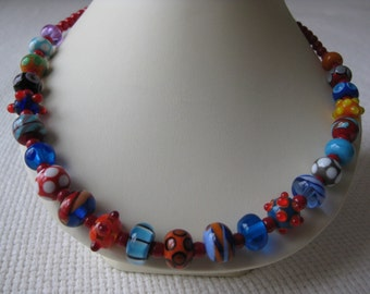Glass Lampwork Bead Necklace with Coral
