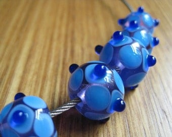Blue and Lavender Glass Beads. Mosaic Dots and Bumps. Lampwork Glass Beads. Handmade Glass Beads. Australian Beads. Kiln Fired Glass Beads.