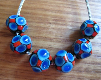 Blue and Red Glass Beads. Diamond Glass Beads. Lampwork Glass Beads. Handmade Glass Beads. Australian Glass Beads. Kiln Fired Glass Beads.