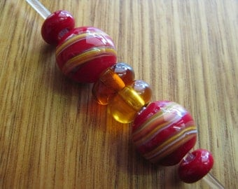 Red and Amber Glass Bead Set. Spacer Beads. Lampwork Glass Beads. Handmade Glass Beads. Australian Beads. Kiln Fired Glass Beads.