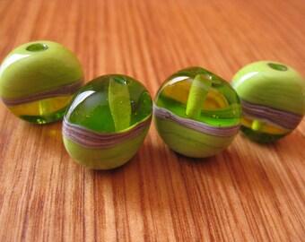 Lampwork Glass Beads. Green Glass Button Beads. Silver Ivory. Handmade Glass Beads. Australian Artisan Glass Beads. Kiln Fired Beads.