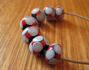 Glass Lampwork Beads, Mosaic Dots in Red, Black, White and Grey.