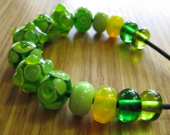 Glass Lampwork Bead Set, Lemons and Limes, Dots, Bumps and Bubbles.