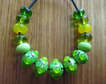 Lampwork Glass Beads. Lemons and Limes Glass Mosaic Bead Set. Spacer Beads. Handmade Glass Beads. Australian Artisan Beads. Kiln Fired Beads
