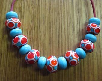 Orange and Aqua Glass Bead Set. Spacer Beads. Mosaic Dots. Lampwork Glass Beads. Handmade Glass Beads. Australian Beads. Kiln Fired Beads