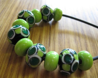 Green and Ivory Glass Bead Set. Spacer Beads. Lampwork Glass Beads. Handmade Glass Beads. Australian Glass Beads. Kiln Fired Glass Beads.