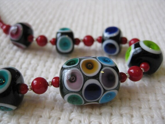 Lampwork Glass Bead Necklace, Plunged Bubble/Dots with Coral and Silver Beads