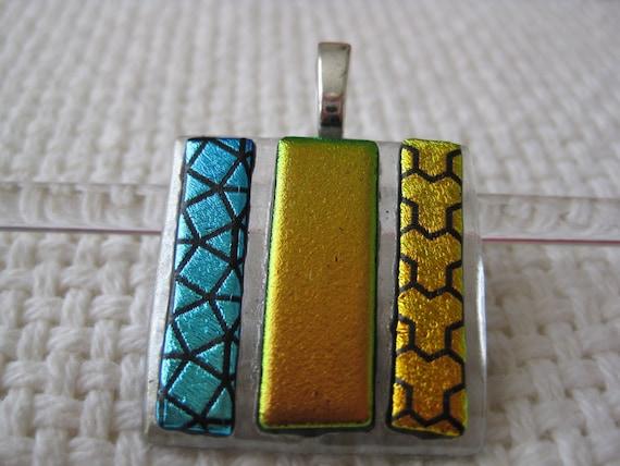 Dichroic Fused Glass Pendant, Gold, Aqua and Black on Clear, Artisan Handmade
