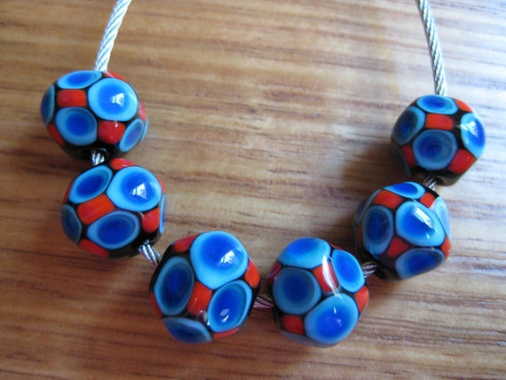 Lampwork Glass Beads Blue And Red Mosaic Dot Glass Beads