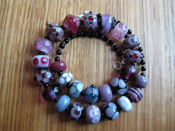 Glass Lampwork Bead Necklace, Purple, Pink and Black Allsorts Beads with Onyx Beads.