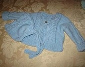 Hand Knit Baby Blue Cable Sweater and Hat