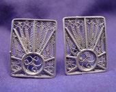 Suburst Filigree Cufflinks in Sterling Silver