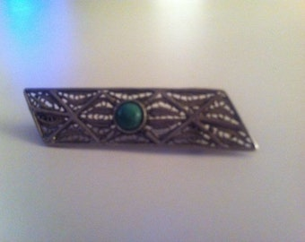 Sterling Silver Filigree Tie/Lapel Pin with Eilat Stone