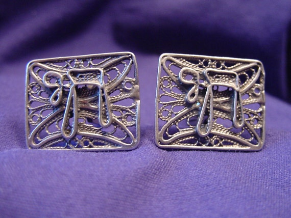 Sterling Silver Filigree Cufflinks with Chai
