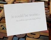 Eternal Optimist: fruit cake -- letterpress card