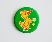 Vintage Soviet Union Pin -  Yellow Duck and Flowers on Green - Made in USSR - Metal Pin