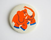 Orange Funny Elephant - Vintage Soviet Pin - Made in USSR