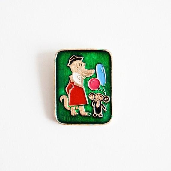 Cheburashka and Gena the Crocodile - Soviet Union USSR Metal Pin