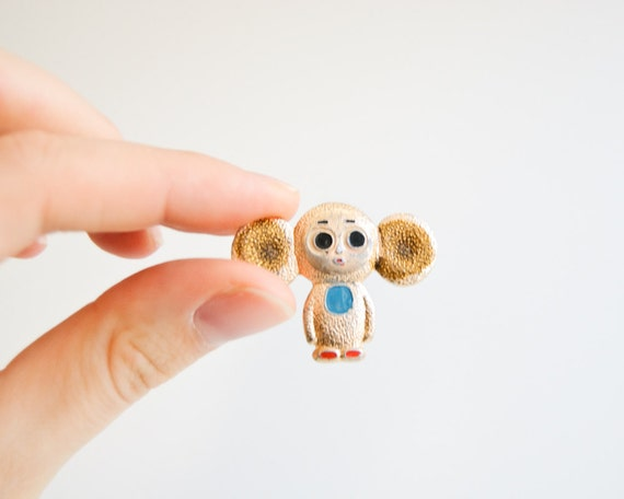 Vintage Soviet Union Pin Button - Cheburashka - USSR - Metal Pin