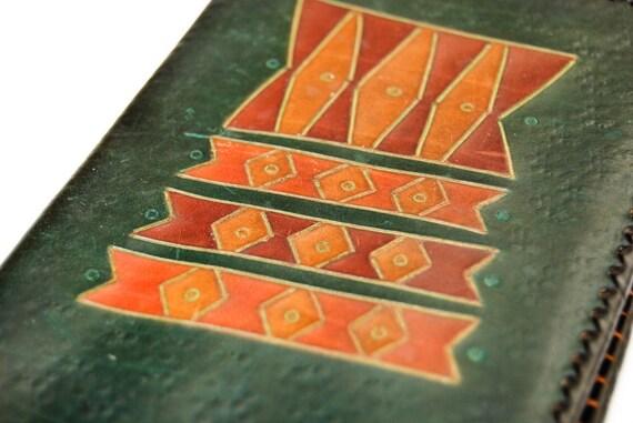 Vintage Russian Leather Wallet - Dark Spring Green Orange Red