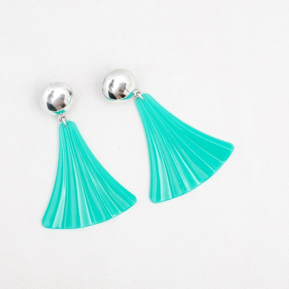 Sea Green Vintage Plastic Earrings - Made in USSR 1980s - Clip on Earrings - Chunky Retro Earrings - Seafoam Summer Fashion