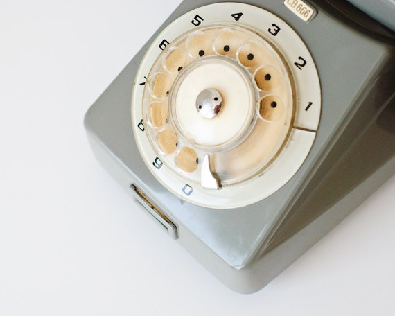 Vintage Rotary Telephone - Made in Hungary - Budavox - Home Decor - Collectible - Grey Phone