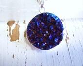 Titanium Quartz Cobalt Blue Necklace - Boho Gypsy-