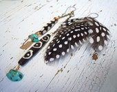 Asymetrical Bone and Feather Earrings - Black and White Polka dot